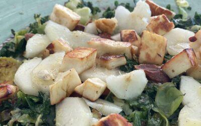 Warme salade met boerenkool en spruitjes